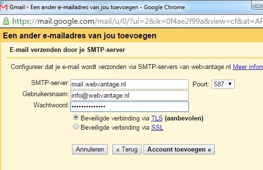 gmail-smtp-instellingen